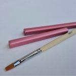 Flat gel brush & pink brush caps